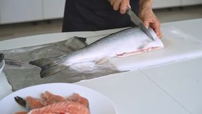 Woman cut salmon into steak. At kitchen at home stock video footage