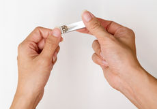 Woman cut thumb nail. Stock Photo