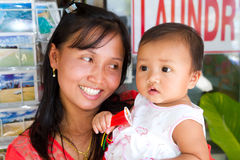 Woman with cute baby in Thailand Stock Photo