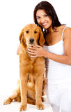Woman with a cute dog Royalty Free Stock Photo