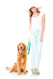 Woman with a cute dog Royalty Free Stock Images