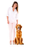 Woman with a cute dog Royalty Free Stock Photography