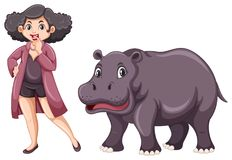 Woman and cute hippo on white background. Illustration Royalty Free Stock Image