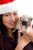 Woman with cute puppy and christmas hat Royalty Free Stock Image