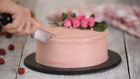 Woman cuts a beautiful cake with roses. Sweet food. Woman cuts a beautiful cake with roses. Sweet food stock footage