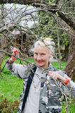 Woman cuts a branch at an Apple-tree in the garden Royalty Free Stock Photo