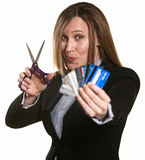 Woman Cuts Credit Cards Royalty Free Stock Images