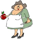 Woman cutting an apple. This illustration depicts a woman wearing an apron and holding an apple and paring knife Royalty Free Stock Images