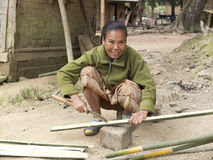 Woman cutting bamboo. Stock Images