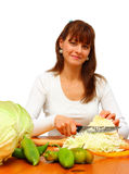 Woman Cutting Cabbage Royalty Free Stock Image