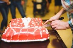 Woman Cutting Cake Royalty Free Stock Photos