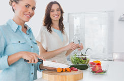 Woman cutting carrots with her friend mixing salad Stock Photos