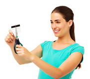 Woman Cutting Credit Card With Scissor Stock Photography