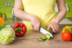 Woman cutting cucumber for salad - fresh vegetables concept Stock Photo