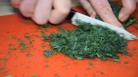 A woman is cutting dill for a salad.