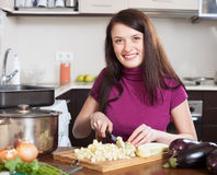 Woman cutting the eggplant Stock Image