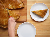 Woman is cutting fresh homemade baked meat pie Royalty Free Stock Images