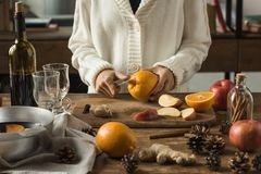 Woman cutting fruits Royalty Free Stock Photo