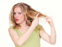 Woman cutting hair Royalty Free Stock Photo