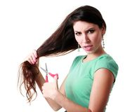 Woman cutting hair Royalty Free Stock Images