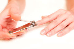Woman cutting nails Stock Photography