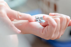 Woman cutting nails Royalty Free Stock Photo
