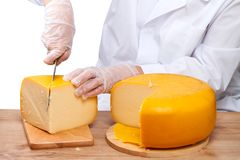 Woman cutting a piece of cheese Royalty Free Stock Image