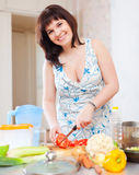 Woman cutting the tomatoes in home Stock Images