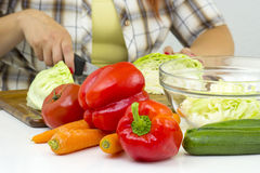 Woman cutting vegetables Stock Photos