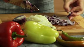 Woman cutting vegetables and cooking sweet potato quesadilla. Woman cutting onion and red pepper vegetables on wooden cutting board and cooking sweet potato stock footage