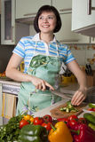 Woman Cutting Vegetables In The Kitchen. Stock Images