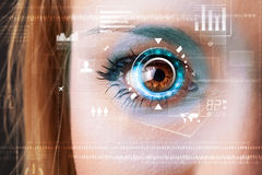 Woman with cyber technology eye panel concept Stock Images