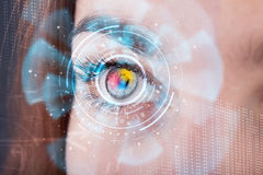 woman with cyber technology eye panel concept Stock Photos