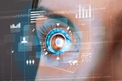 woman with cyber technology eye panel concept vector illustration