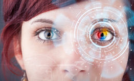 Woman with cyber technology eye panel concept Royalty Free Stock Image