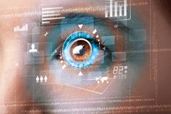 Woman with cyber technology eye panel concept Royalty Free Stock Images