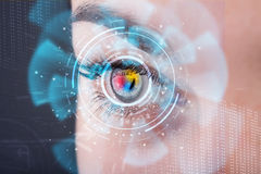 Woman with cyber technology eye panel Royalty Free Stock Photography