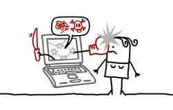 Woman & cyberbullying. Hand drawn cartoon characters - woman & cyberbullying