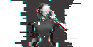 Woman cyborg with futuristic glasses and sensors. People, cyberspace, future technology and progress - woman cyborg with 3d glasses and microchip implant or Royalty Free Stock Photography
