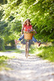 Woman On Cycle Ride In Countryside Royalty Free Stock Photography