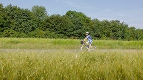 Woman cycling royalty free stock photo