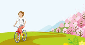 Woman Cycling in Springtime -Bobbed hair. Vector Illustration Stock Photography