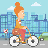Woman cycling to work. A woman with a briefcase cycling to work on city background vector flat design illustration. Square layout Stock Image