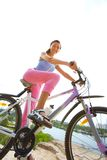 Woman cyclist Royalty Free Stock Photo