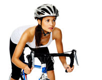 Woman cyclist Royalty Free Stock Image