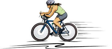 Woman Cyclist in Color Stock Photos
