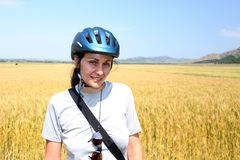 Woman cyclist portrait Stock Photos