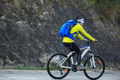 Woman cyclist riding mountain bike on forest trail Stock Photography