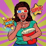 Woman in 3D glasses watching a movie, smiling and eating popcorn. Fast food in the cinema hall. Pop art retro vector illustration comic cartoon vintage kitsch vector illustration