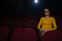 Woman in 3d glasses watching movie Royalty Free Stock Photos
